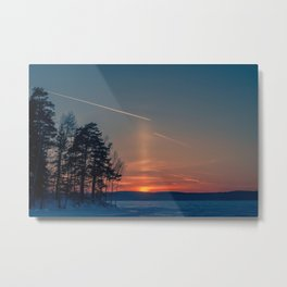 Flying at sunset Metal Print