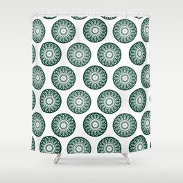 Dark Green Mandala Pattern Shower Curtain