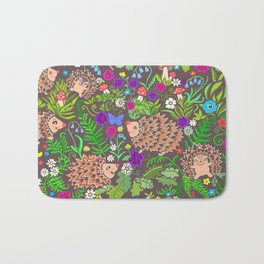 Hegehog fall forest, rainbow flowers and robins Bath Mat