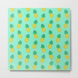Pineapples (Aqua Background) Metal Print