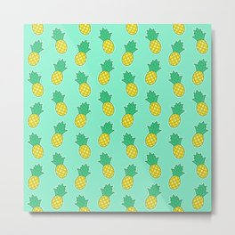Pineapples (Aqua Background) Metal Print