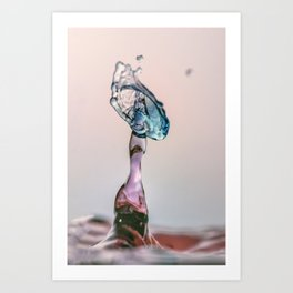 Red and Blue Water drop collision Art Print