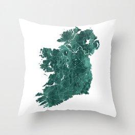 Ireland Watercolor Map Art by Zouzounio Art Throw Pillow