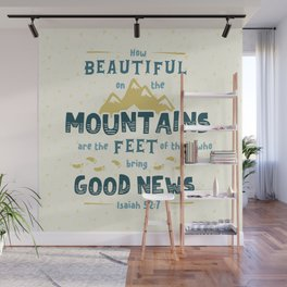 """""""How Beautiful on the Mountains"""" Hand-Lettered Bible Verse Wall Mural"""