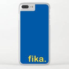 Fika Gul & Blå Clear iPhone Case