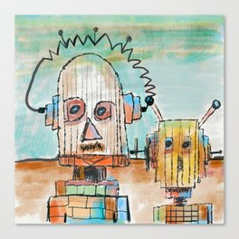 """""""Two Robot Dudes waiting for a Spaceship to go To Thompsonville near the AZ Strip"""" Canvas Print"""