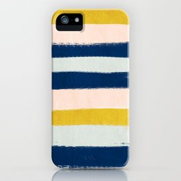 Esther - navy mint gold painted stripes brushstrokes minimal modern canvas art painting iPhone Case