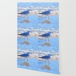 Wading In The Surf Wallpaper