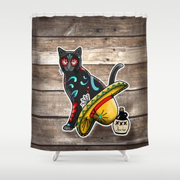 Gato en un Sombrero - Day of the Dead Sugar Skull Cat - Dia de los Muertos Kitty Shower Curtain