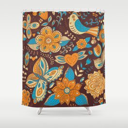 Floral Khokhloma pattern Shower Curtain