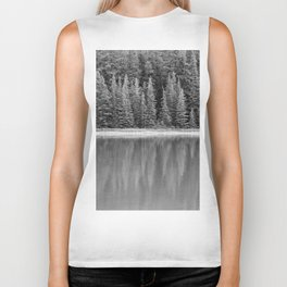 Forest Across the Lake (Black and White) Biker Tank