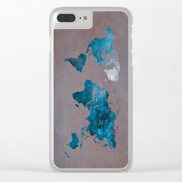 world map 104 blue #worldmap #map Clear iPhone Case