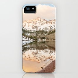 Snow Covered Maroon Bells Aspen Colorado iPhone Case