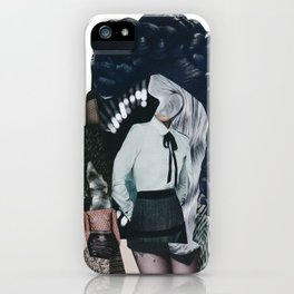 She was all mixed up - a modern, black and white collage by jules tillman iPhone Case
