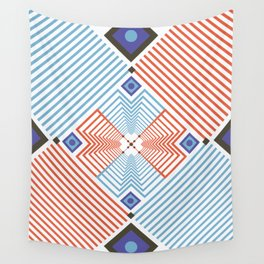 Blue red stripes Wall Tapestry