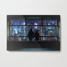 New York City Skyline and Couple-Views Above the City Metal Print