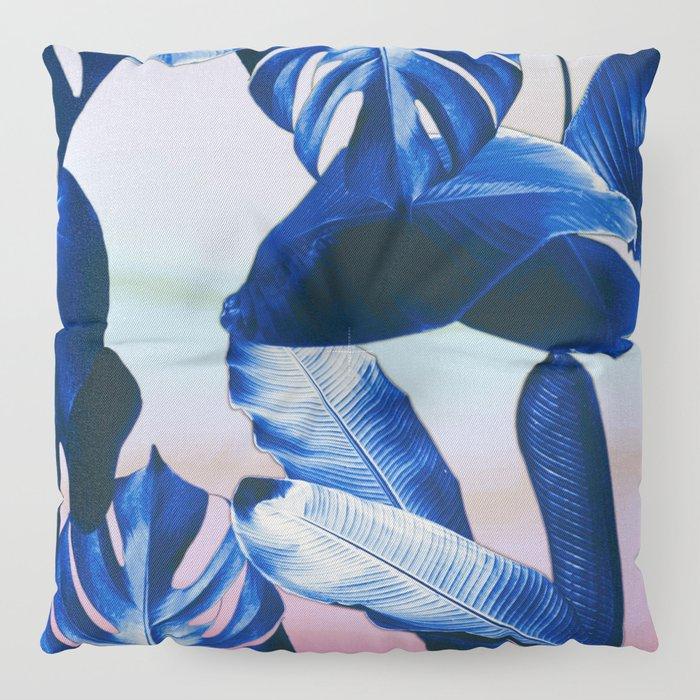 Cobalt blue tropical leaves Floor Pillow