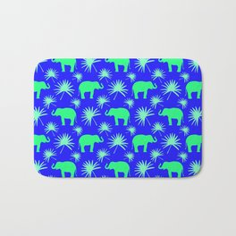 Wild African bright green little elephants, exotic tropical leaves whimsical cute blue pattern Bath Mat