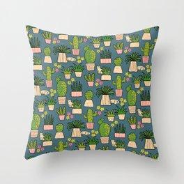 Cactus Cat Blue Garden Throw Pillow
