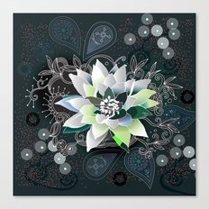 Dark blue and black zentangle inspired waterlily  Canvas Print