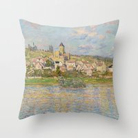 monet Throw Pillows featuring Vetheuil by Claude Monet by Palazzo Art Gallery