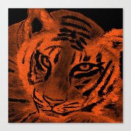 Tiger with Orange Background Canvas Print
