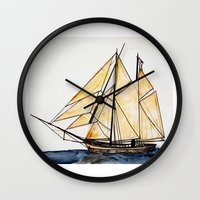 sail Wall Clocks featuring sail by The Traveling Catburys