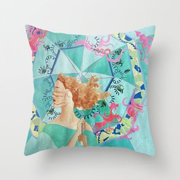 Woman Facing Against Wind Throw Pillow
