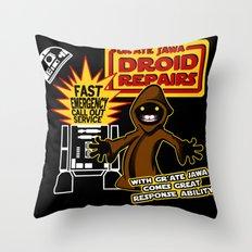 Gr'Ate Jawa Droid Repairs Throw Pillow