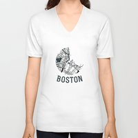 boston V-neck T-shirts featuring Boston by Sophie Calhoun