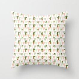 Hand painted pink coral green geometrical cactus Throw Pillow