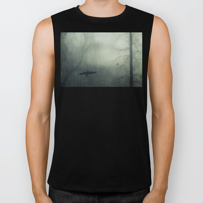 world wrapped in mist Biker Tank
