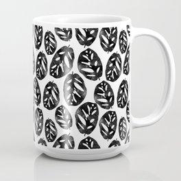 Monstera obliqua linocut black and white minimal house plants cute zen vibes yoga art Coffee Mug