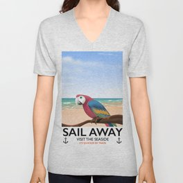 Sail Away Visit the seaside Parrot Unisex V-Neck