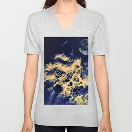 blue moon and clouded night sky Unisex V-Neck