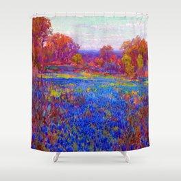 Julian Onderdonk Field of Blue Bonnets Shower Curtain