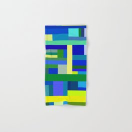 Abstract Blue Lime Pattern Hand & Bath Towel