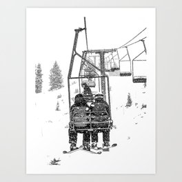 Snow Lift // Ski Chair Lift Colorado Mountains Black and White Snowboarding Vibes Photography Art Print