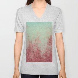 Harmony (Mint Blue Sky, Coral Pink Plants) Unisex V-Neck