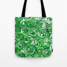 Emerald Green, Green Apple, and White Paint Swirls Tote Bag