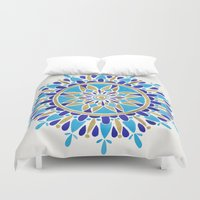 royal Duvet Covers featuring Royal Blue Mandala by Cat Coquillette