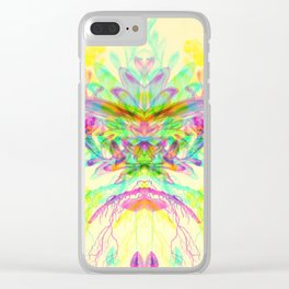 Botanical Flower Glitch V Clear iPhone Case