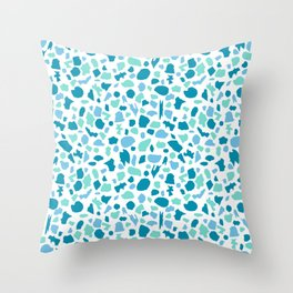 Terrazzo in Peacock Blue, Mint on White Throw Pillow