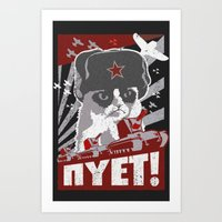 soviet Art Prints featuring grumpy soviet by tshirtsz