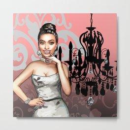 Retro Pinup Girl & Chandelier Floral Damask Metal Print