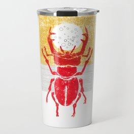 Red stag facing a golden sky Travel Mug
