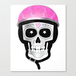 Day of the Dead Biker Skull Canvas Print