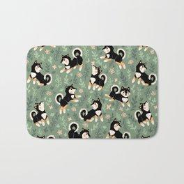 Playful Black And Tan Shiba Inu Pattern Bath Mat