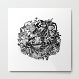 With a Cup Of Coffee Metal Print