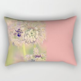 AUGUST LIGHT soft pink pastel golden hour light bee and meadow flower Rectangular Pillow